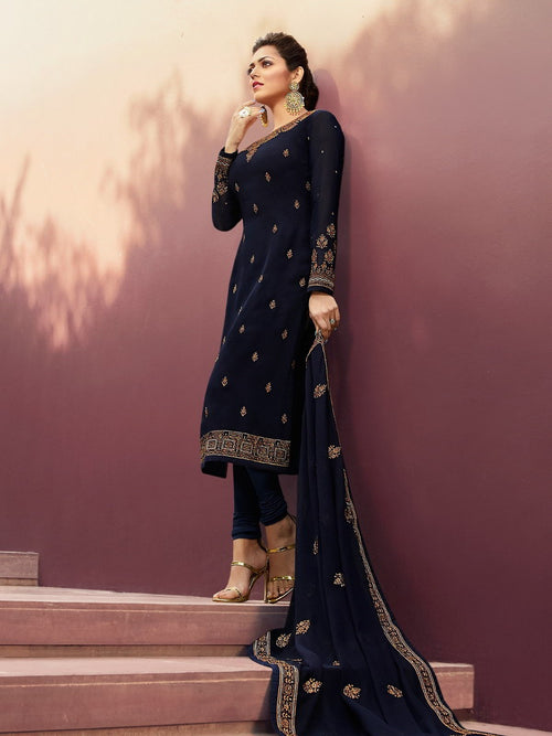 Navy Blue Golden Traditional Churidar Suit