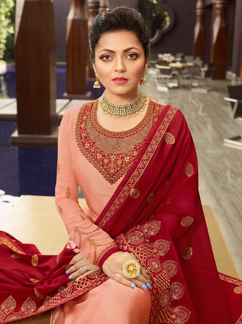 Peach Red In Combination Churidar Suit