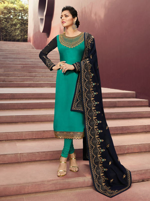 Turquoise And Blue In Combination Churidar Suit