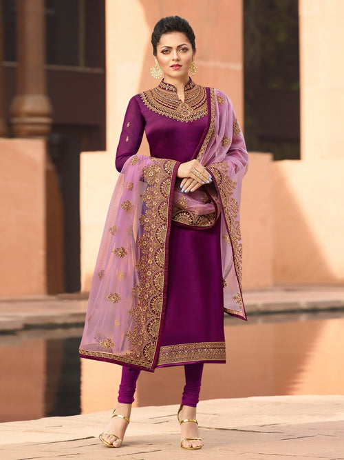 Purple In Combination Embroidered Churidar Suit