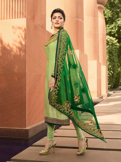 Light Green In Combination Churidar Suit