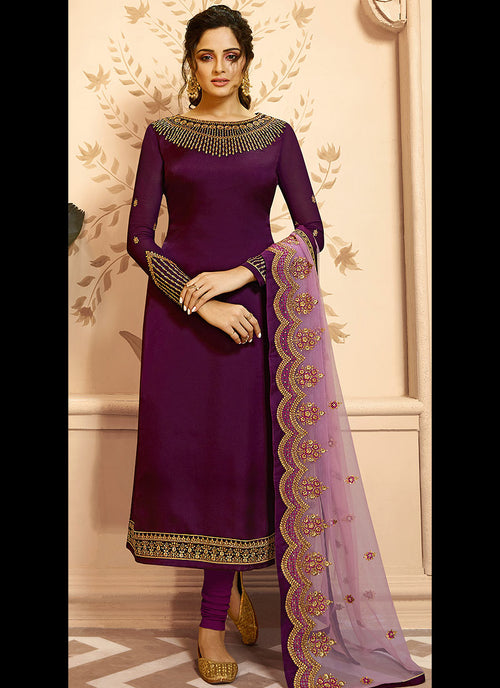 Magenta Golden Indian Gharara/Churidar Suit