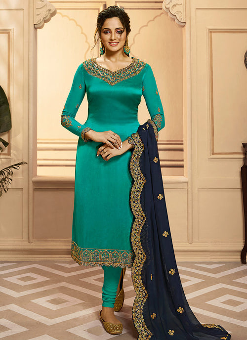Turquoise And Blue Indian Gharara/Churidar Suit