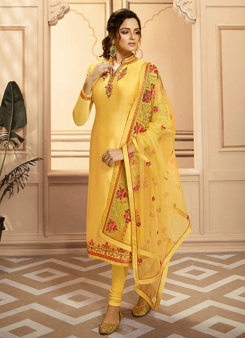 Yellow Multi Embroidered Indian Gharara/Churidar Suit