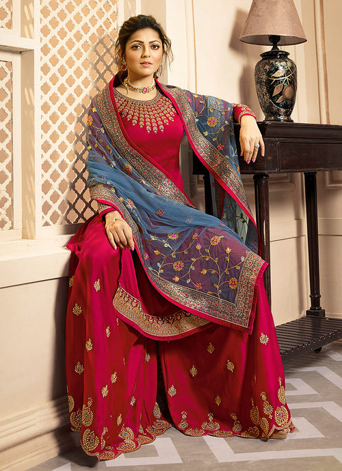 Red And Blue Indian Gharara/Churidar Suit