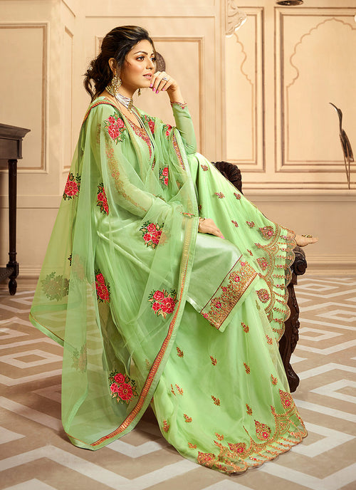 Light Green Indian Gharara/Churidar Suit