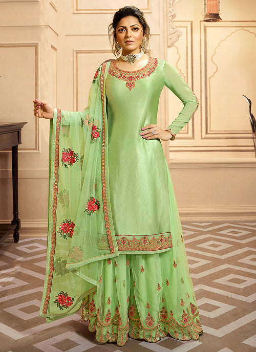 Light Green Multi Indian Gharara/Churidar Suit