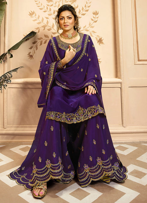 Purple Golden Indian Gharara/Churidar Suit