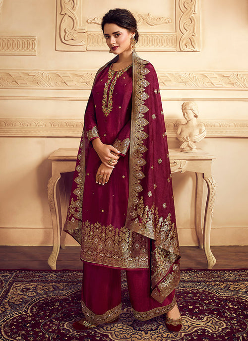 Bridal Red Golden Embroidered Designer Palazzo Suit