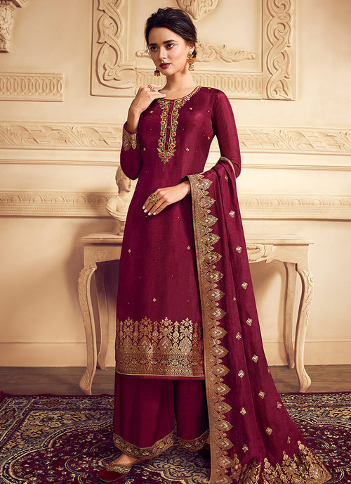Indian Clothes - Bridal Red Golden Embroidered Designer Palazzo Suit
