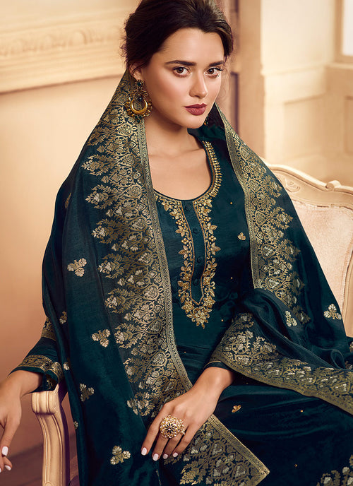 Peacock Blue Golden Embroidered Designer Palazzo Suit