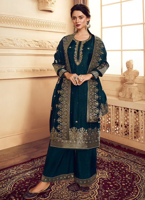 Indian Clothes - Peacock Blue Golden Embroidered Designer Palazzo Suit