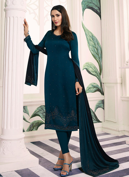Turquoise Blue Embroidered Salwar Kameez Suit