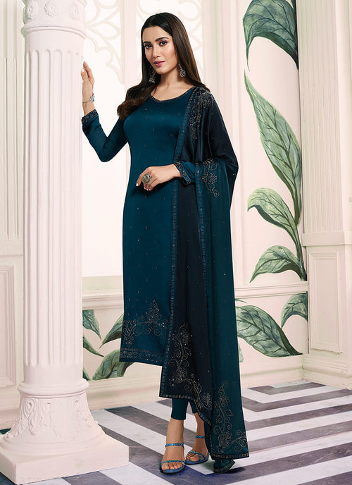 Indian Clothes - Turquoise Blue Embroidered Salwar Kameez Suit
