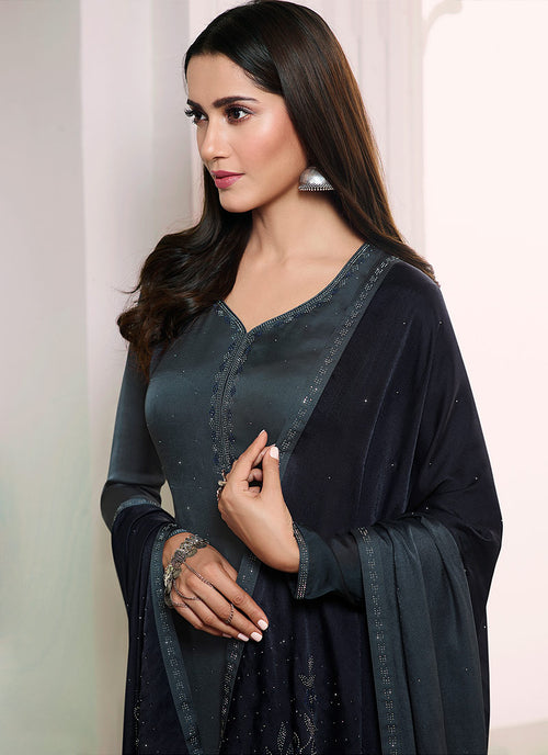 Grey Embroidered Salwar Kameez Suit, Salwar Kameez