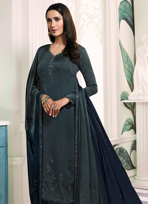 Grey Embroidered Salwar Kameez Suit