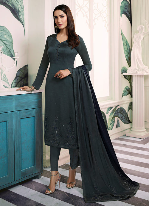 Indian Clothes - Grey Embroidered Salwar Kameez Suit