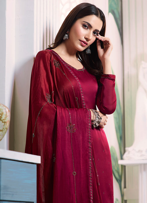 Dark Pink Embroidered Salwar Kameez Suit, Salwar Kameez