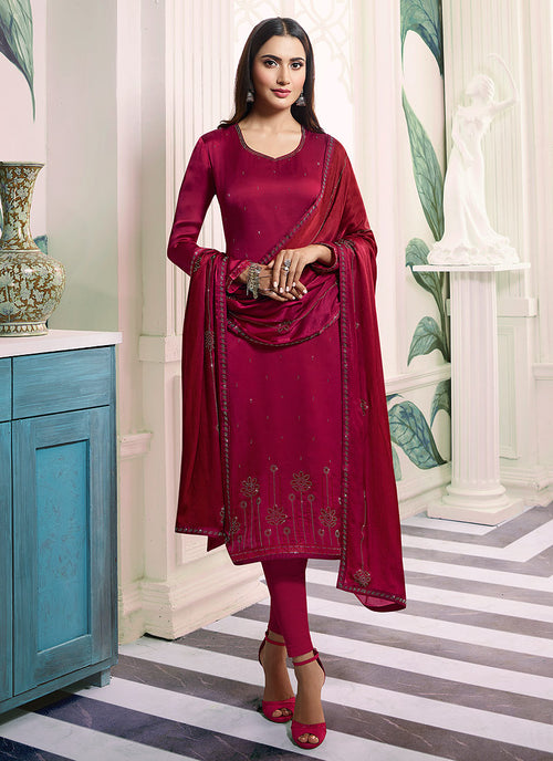 Indian Clothes - Dark Pink Embroidered Salwar Kameez Suit