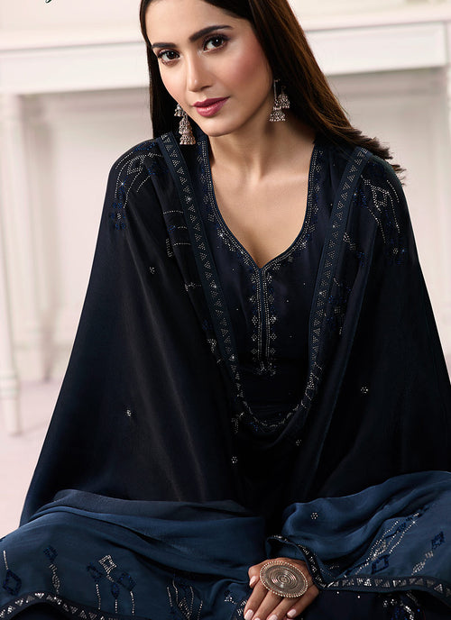 Dark Blue Embroidered Salwar Kameez Suit, Salwar Kameez