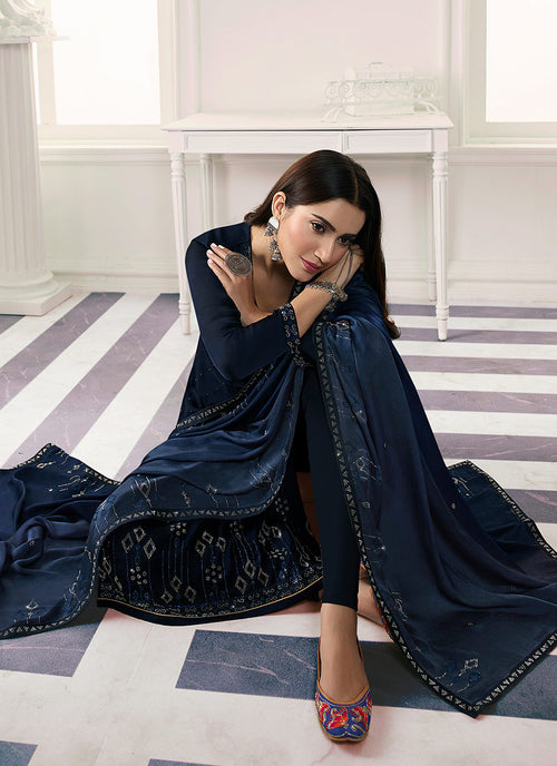Dark Blue Embroidered Salwar Kameez Suit