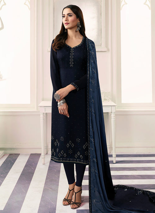 Indian Clothes - Dark Blue Embroidered Salwar Kameez Suit