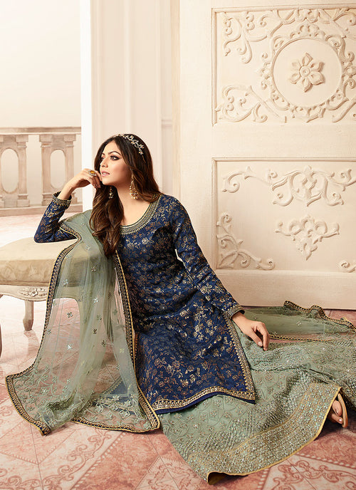 Indian Dresses - Blue And Teal Tradition Embroidered Wedding Sharara,Salwar Kameez