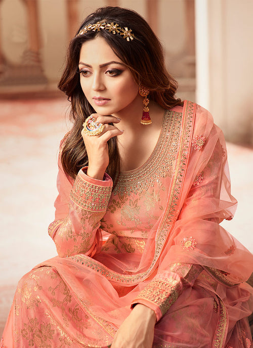 Indian Dresses - Peach And Golden Wedding Sharara