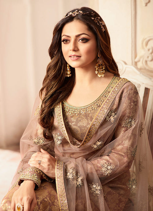 Indian Clothes - Light Brown Tradition Wedding Sharara