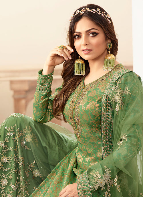 Indian Dresses - Green And Golden Tradition  Wedding Sharara