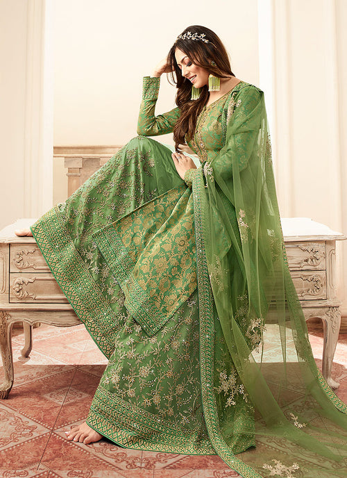 Indian suits - Green And Golden Tradition Embroidered Wedding Sharara,Salwar Kameez