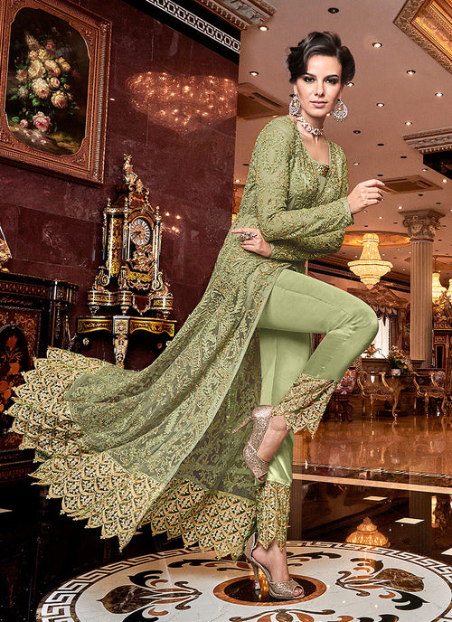 Indian Suit - Light Green Designer Lehenga/Pants Suit