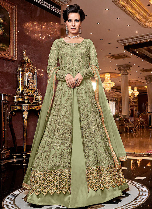 Indian Clothes - Light Green Golden Lehenga/Pants Suit
