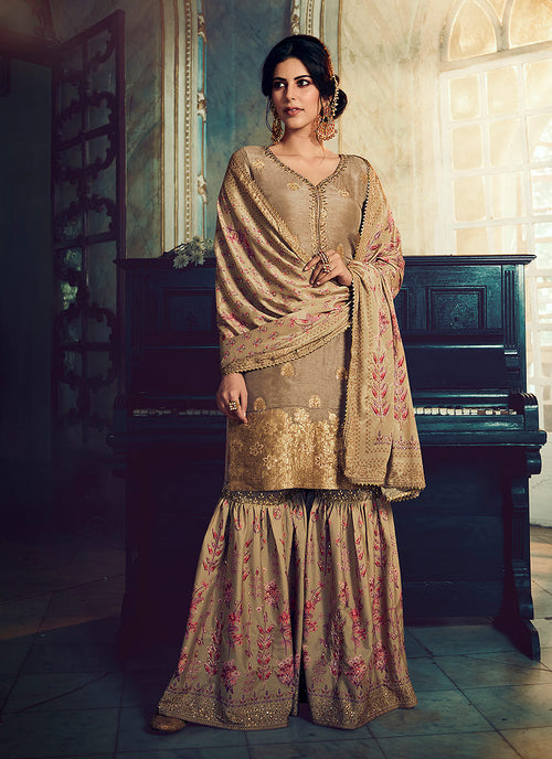 Peach Embroidered Foil Printed Gharara Suit