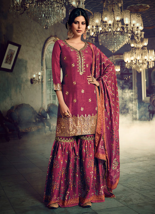 Maroon Embroidered Foil Printed Gharara Suit