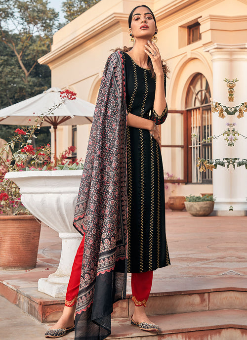 Black And Red Multi Embroidered Pant Suit
