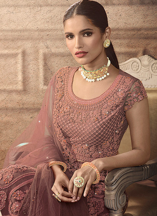 Blush Pink Bridal Indian Lehenga Choli Set, Lehengas