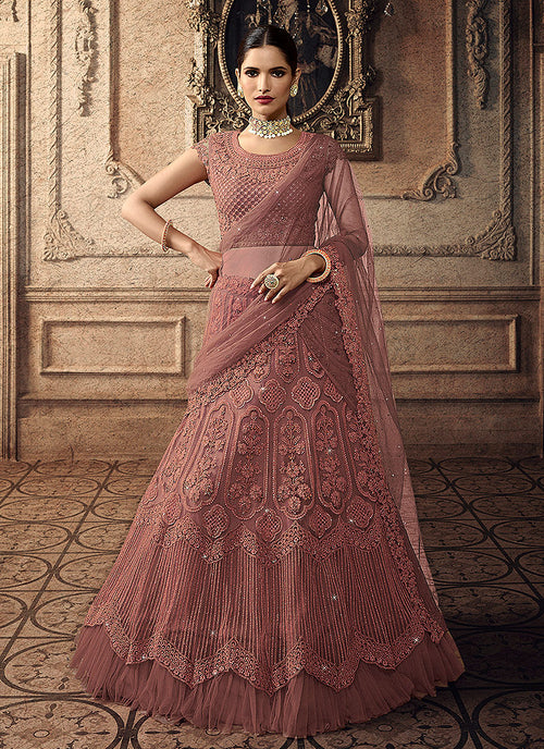 Indian Clothes - Blush Pink Bridal Indian Lehenga Choli Set
