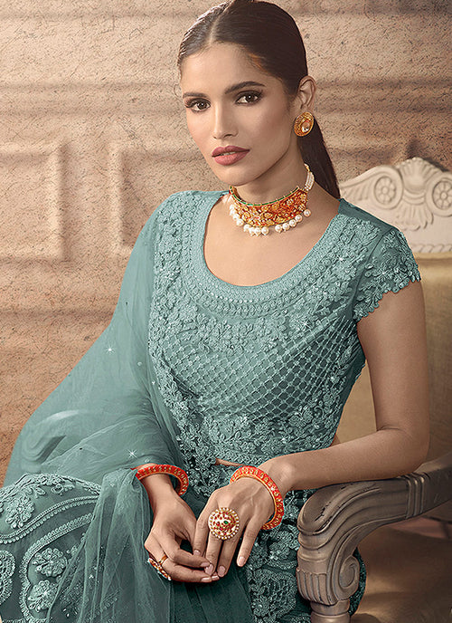 Teal Blue Bridal Indian Lehenga Choli Set