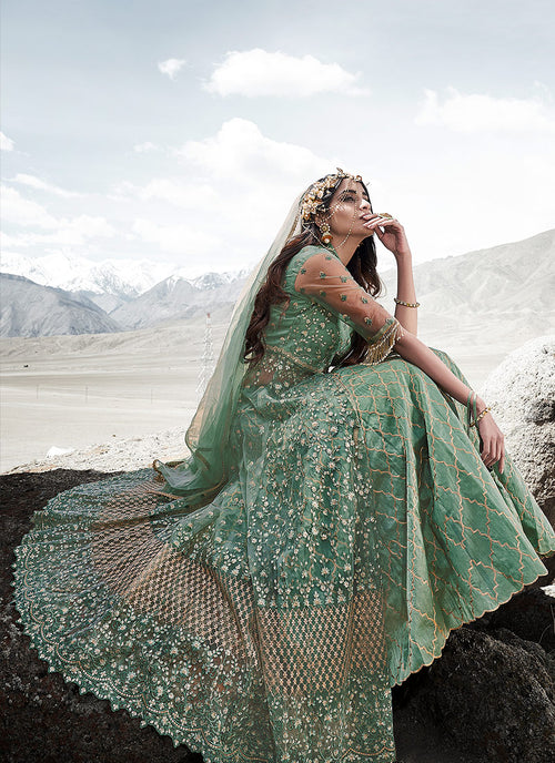 Indian Suits - Mint Green Anarkali Lehenga Suit