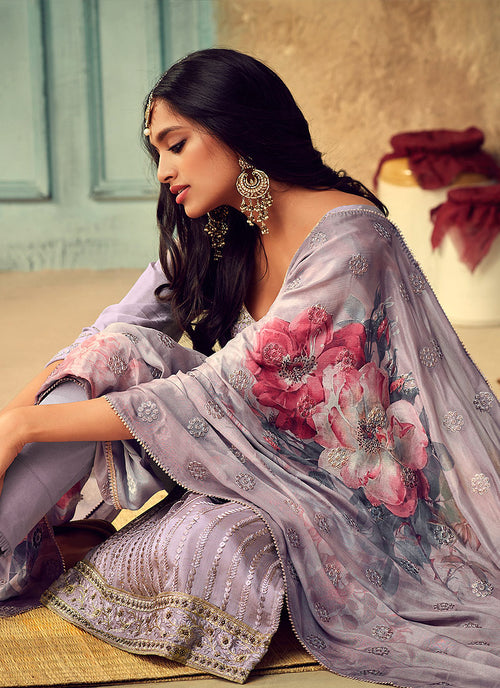 Pant Suits - Lilac Purple Designer Pakistani Salwar Kameez