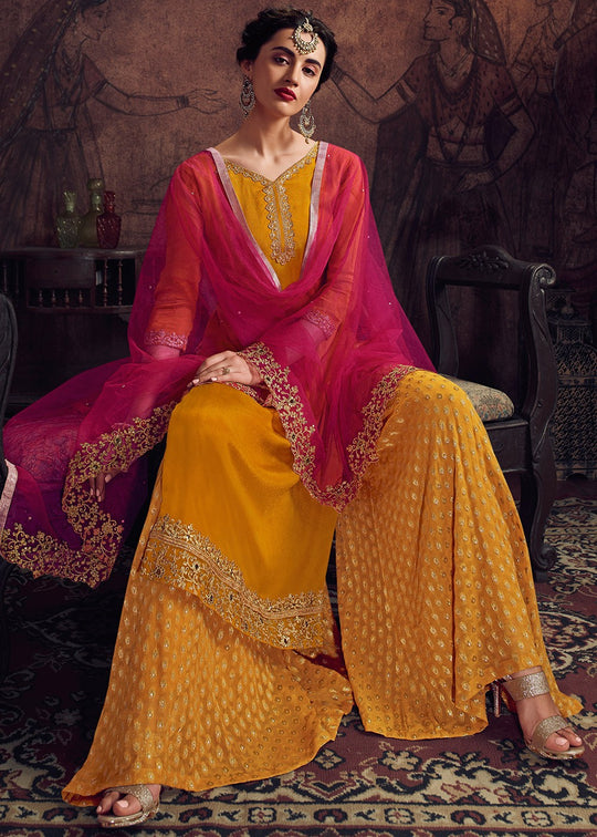 Yellow and Pink Embroidered Pakistani Palazzo Suit