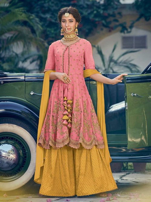Pink and Yellow Embellished Gharara Suit