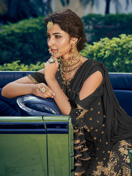 Black Embellished Gharara Suit