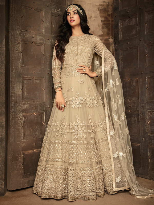 Beige Chikankari Party Wear Anarkali Suit