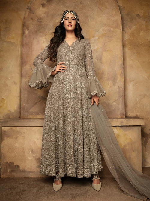 Beige Copper Mirror Anarkali Pant Suit
