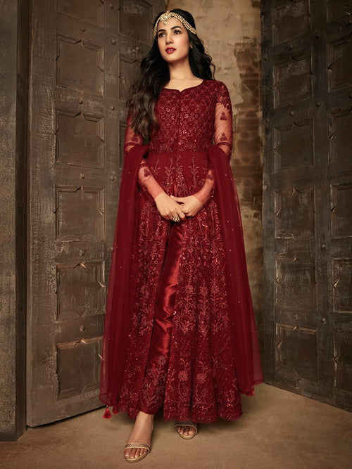 Red Mirror Pakistani Anarkali Pant Suit