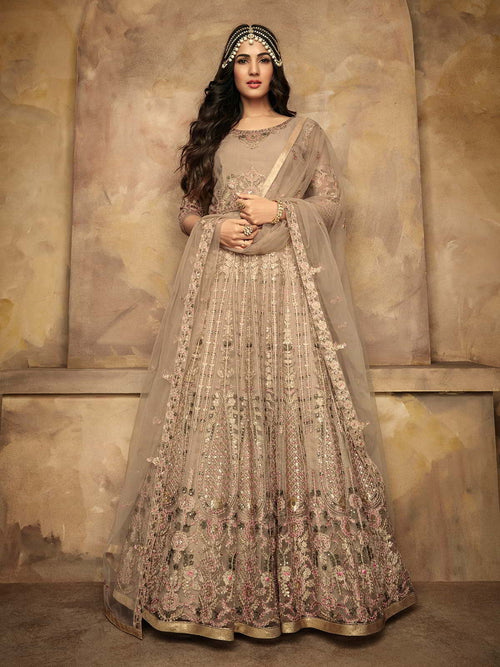Beige And Pink Floral Designer Anarkali Suit
