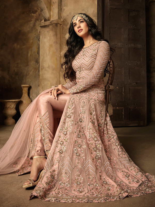 Baby Pink Ethnic Embroidered Pakistani Style Pant Suit