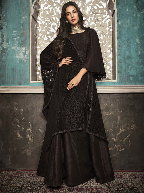 Dark Brown Embroidered Flared Anarkali Suit